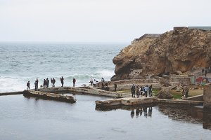 Visitors at the Sutro Baths