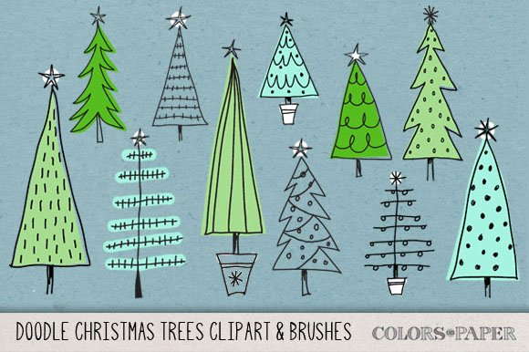 Hand Drawn Christmas Trees Clipart Illustrations