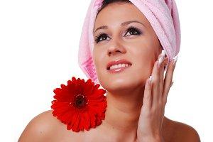 woman in pink towel