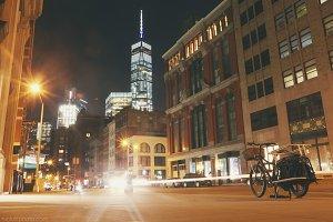 Lower Manhattan Street Night