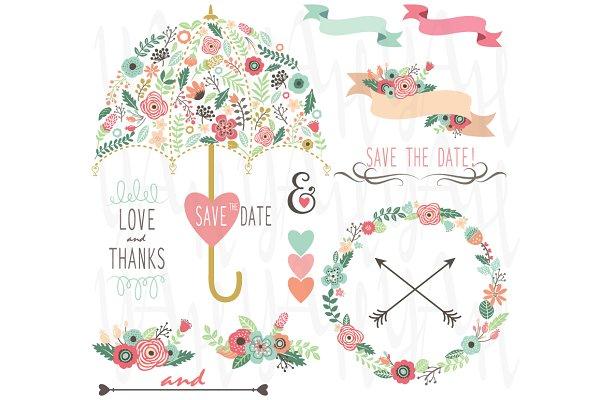 Floral Wedding Umbrella Elements