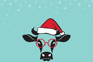 Merry christmas greeting cow card.