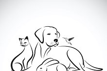 Vector group of pets.