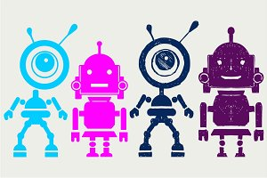 Two cute robots SVG