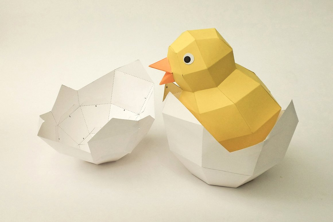 diy chick in egg 3d papercraft templates creative market
