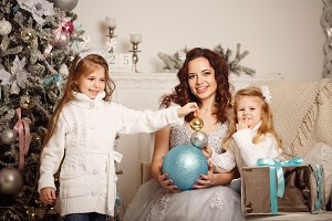 Daughter, mother and Christmas