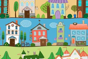 Cute houses seamless pattern