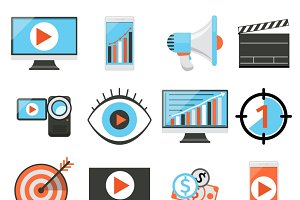 Media marketing flat vector icons