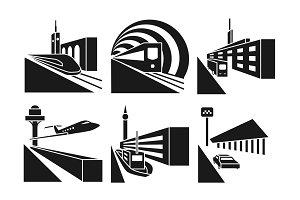 Transportation stations icons set