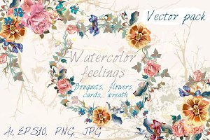 Watercolor flower vector set
