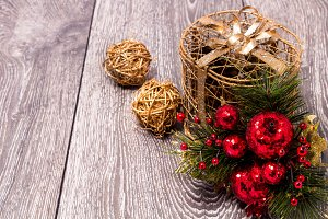 Christmas background with festive decoration and toys.On white wood background.