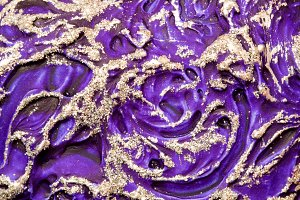 Violet and gold glitter texture  background. Abstract.