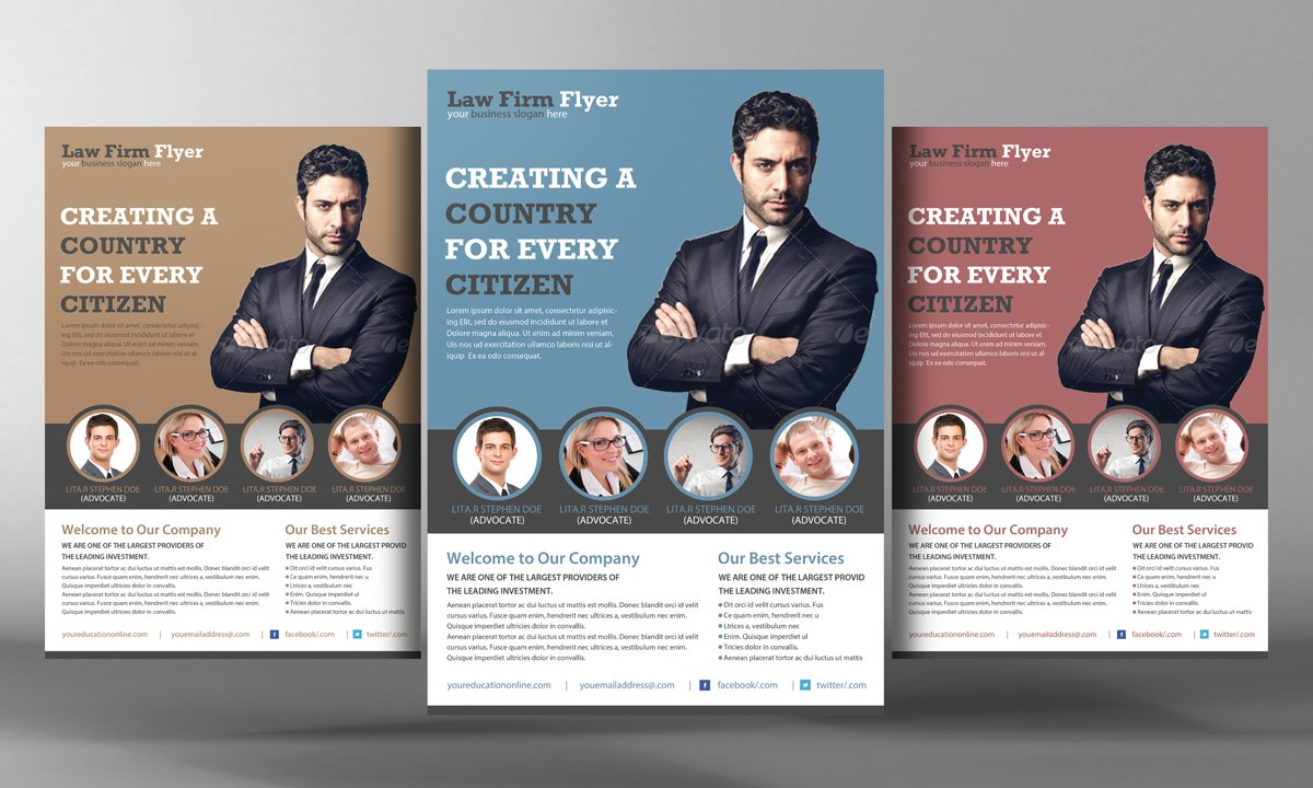 Law firm flyer template flyer templates creative market for Law firm brochure template