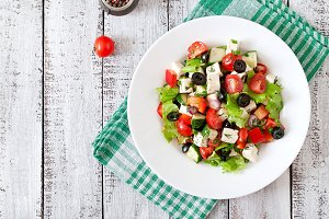 Greek salad with fresh vegetables