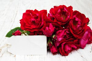 Pink Roses with a card