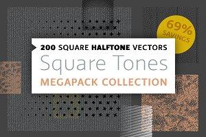 200 Square Halftone Vector Megapack