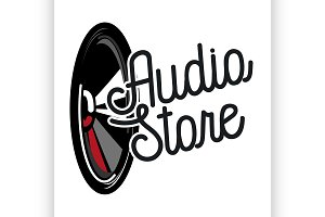 Color vintage audio store emblem