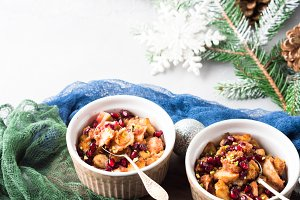 Christmas baked apple dessert with pomegranate seeds