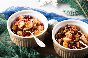 Christmas baked apple dessert with pomegranate