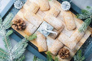 Winter cookies with icing sugar for Christmas snack