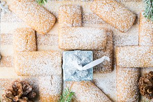 Winter cookies with icing sugar for Christmas