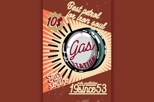 Color vintage gas station poster