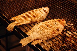 Fish is Cooking on Grill