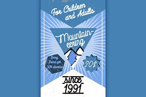 Color vintage mountaineering poster