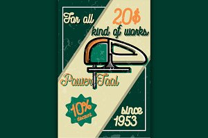 vintage power tools store poster