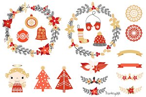 Christmas clip art set with wreaths