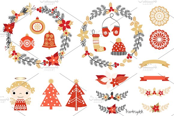 Christmas clip art set with wreaths