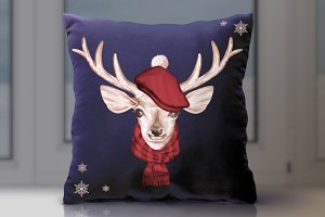 Christmas deer's head