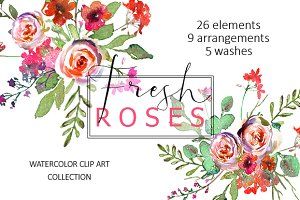 Spring Watercolor Florals Clipart