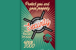 Color vintage security poster