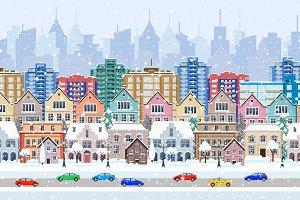 winter seamless border panorama