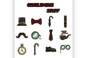 Gentlemens vintage stuff flat icon