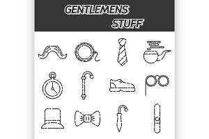 Gentlemens vintage stuff icon set