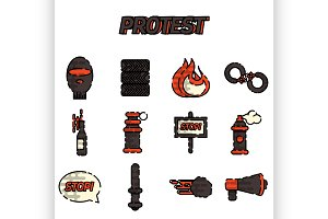 Protest flat icon set