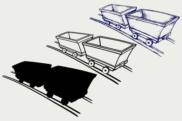 Mining Cart SVG DXF