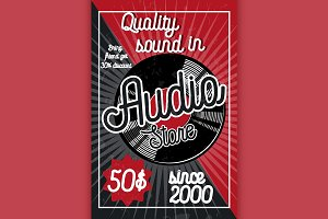 Vintage audio store poster