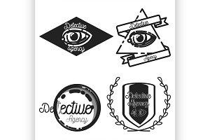 Vintage detective agency emblems