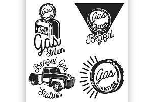Vintage gas station emblems