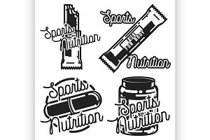 Vintage sports nutrution emblems
