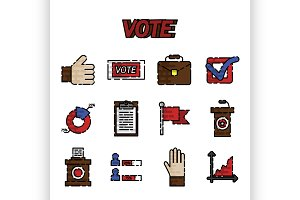 Vote flat icons set