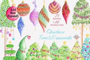 Christmas & Trees Watercolor Clipart