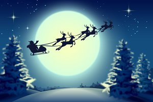 Santa Claus in sleigh and reindeer