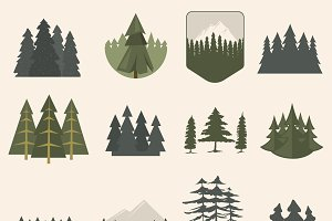 Vector fir trees set