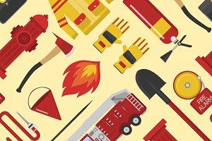 Vector seamless pattern firefighter