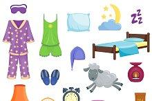 Sleep time flat icons vector set