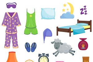 Sleep time flat icons vector set